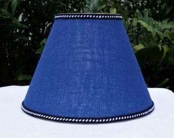 Burlap Lampshade, Royal Blue, Clip On Lamp Shade