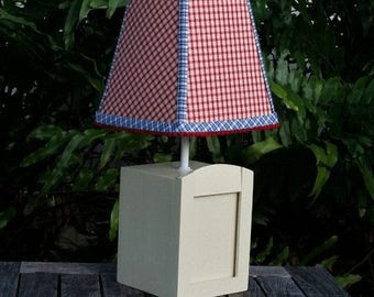 Small Kids Table Lamp, Custom Red Check Lamp Shade