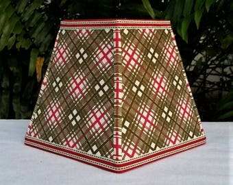 Vintage Fabric Clip On Lampshade, Red, Olive Green, Square Lamp Shade