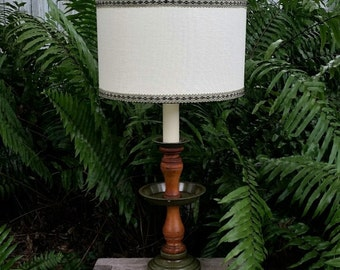 Vintage Spindle Lamp,  New Lampshade