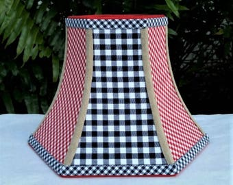 Americana Lampshade, Navy Blue Checks, Red Gingham, Hexagon Bell Lamp Shade
