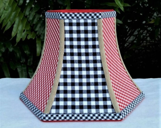 Featured listing image: Americana Lampshade, Navy Blue Checks, Red Gingham, Hexagon Bell Lamp Shade