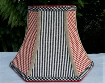 Red Gingham Lampshade, Black Stripes Lamp Shade