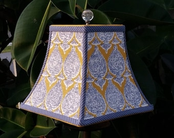 Lampshade, Denim Blue, Yellow, Square Bell Lamp Shade
