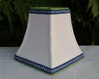 White Clip On Lampshade, Blue Trim Lamp Shade
