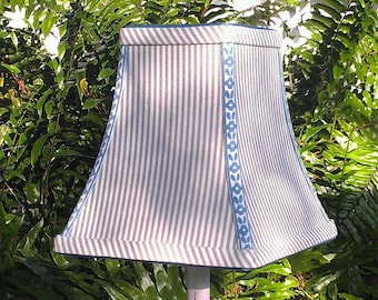 Gray Stripe Lampshade, Square Bell