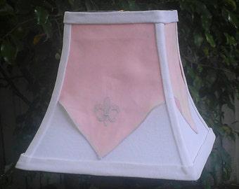 Lamp Shade, Pink, White, Fleur de Lis Lampshade