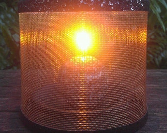 Wire Mesh Candle Holder, Luminary, Glitter Trim