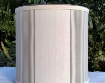 Linen Lampshade Drum, Off White, Gray Lamp Shade