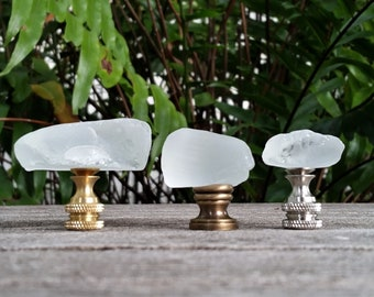 Frosted Lamp Finial, White Sea Glass