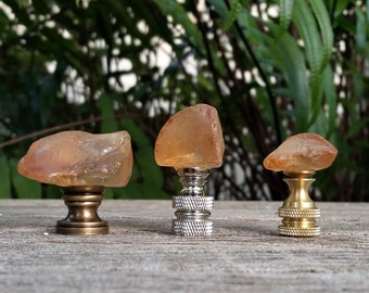 Lamp Finial, Peach Sea Glass Rock