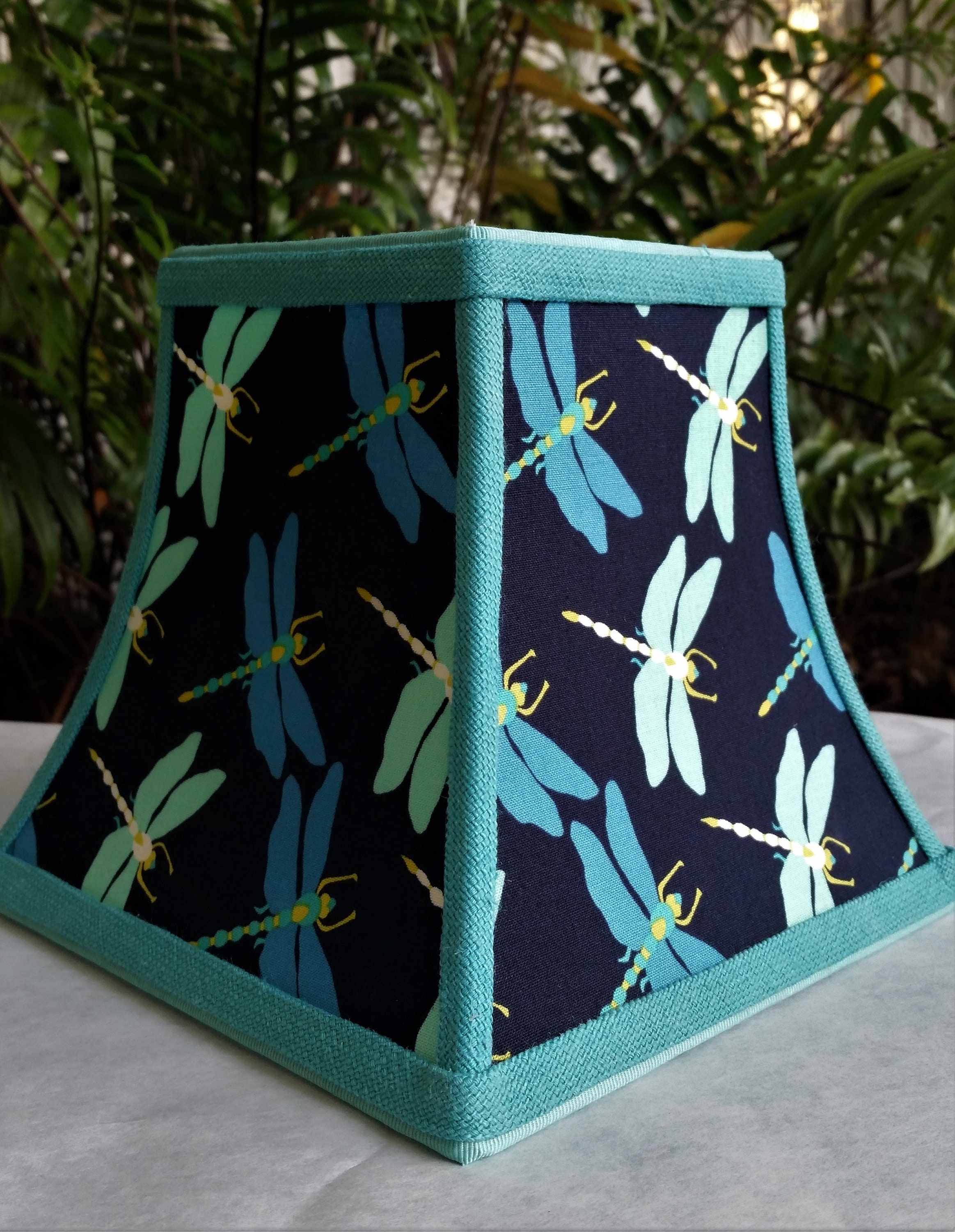 Blue Clip On Lampshade Dragonfly Square Bell Lamp Shade