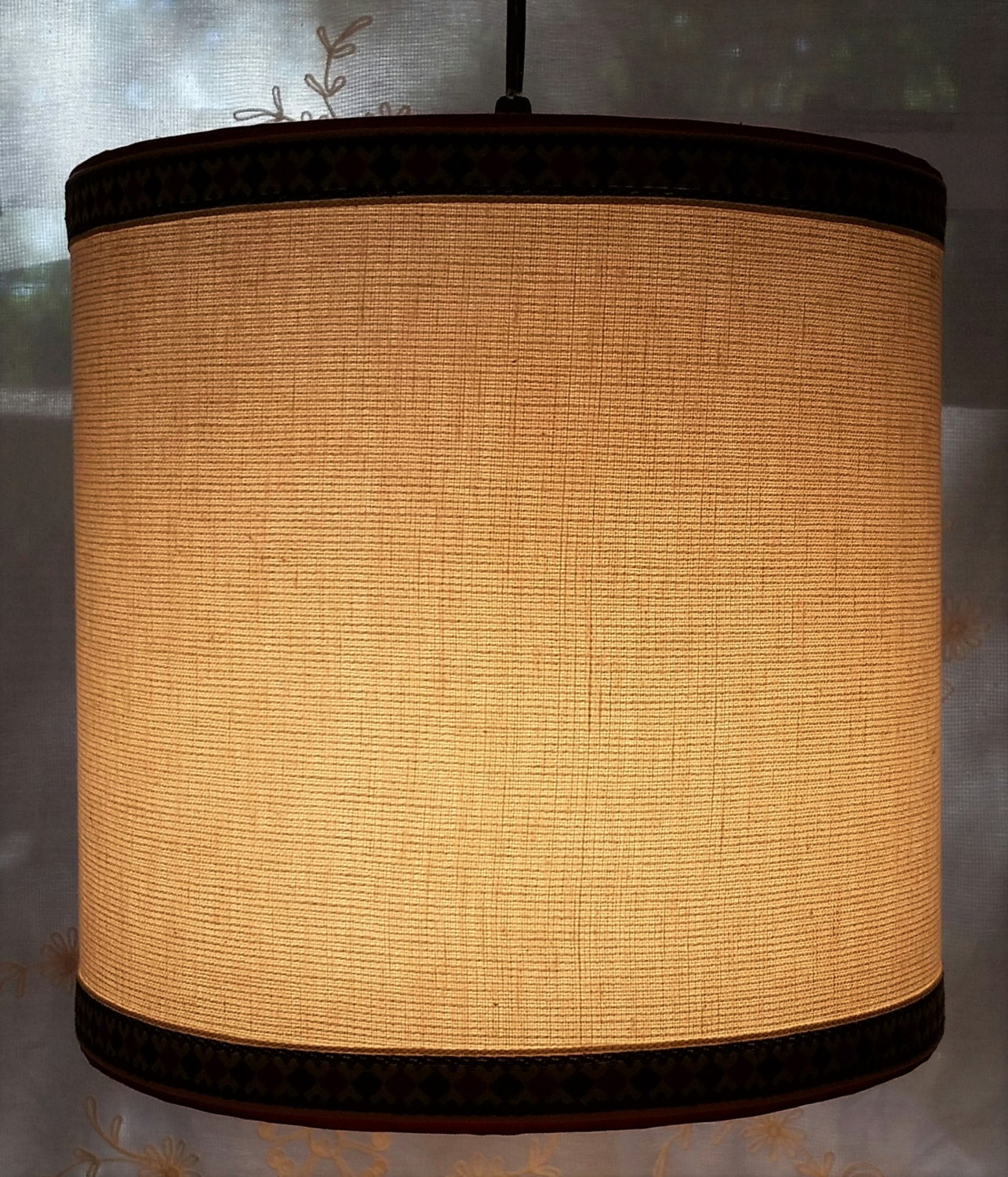 White Linen Drum Lampshade Vintage Red Olive Trim Lamp Shade