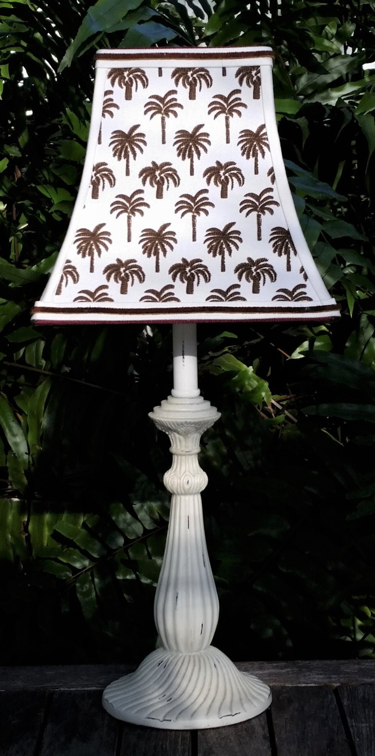 Palm Tree Lampshade White Brown Clip On Lamp Shade