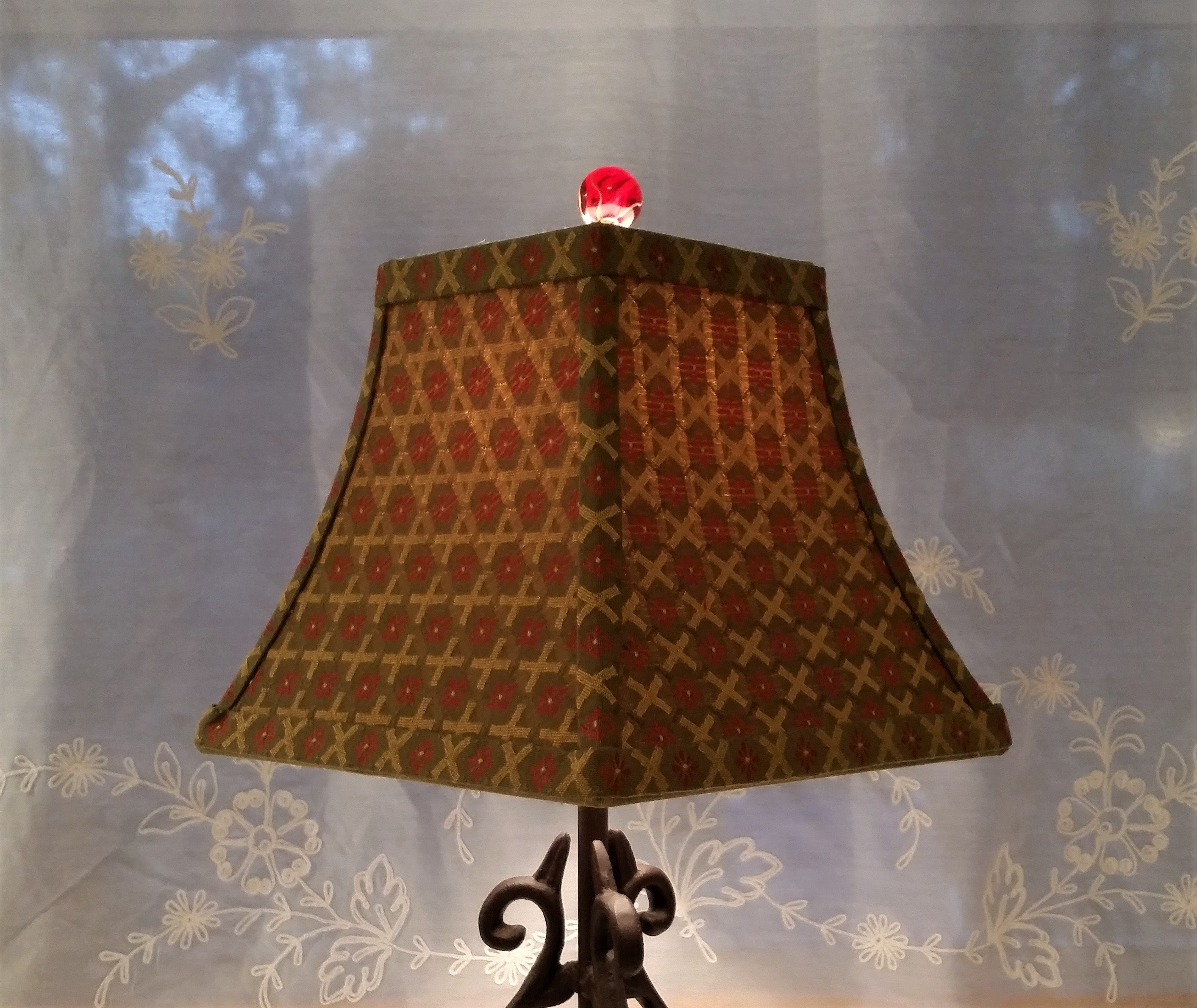 Embroidered Lamp Shade Olive Green Lampshade