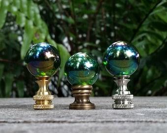 Emerald Green Lamp Finial, Iridescent