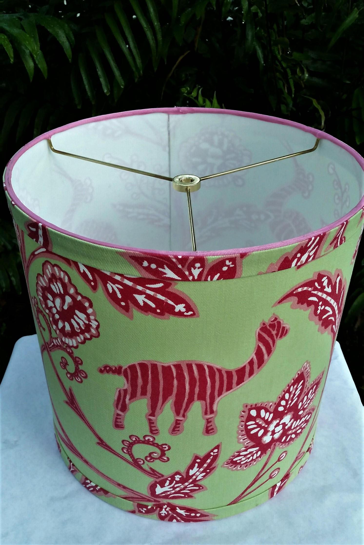 Tropical Drum Lampshade Green Hot Pink Lamp Shade