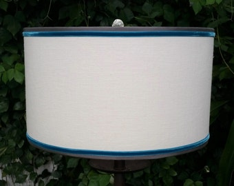 Linen Drum Lampshade, Turquoise and Gray Trim Lamp Shade