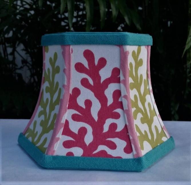 Pink Coral Lampshade, Hex Bell Frame, Custom Lamp Shade