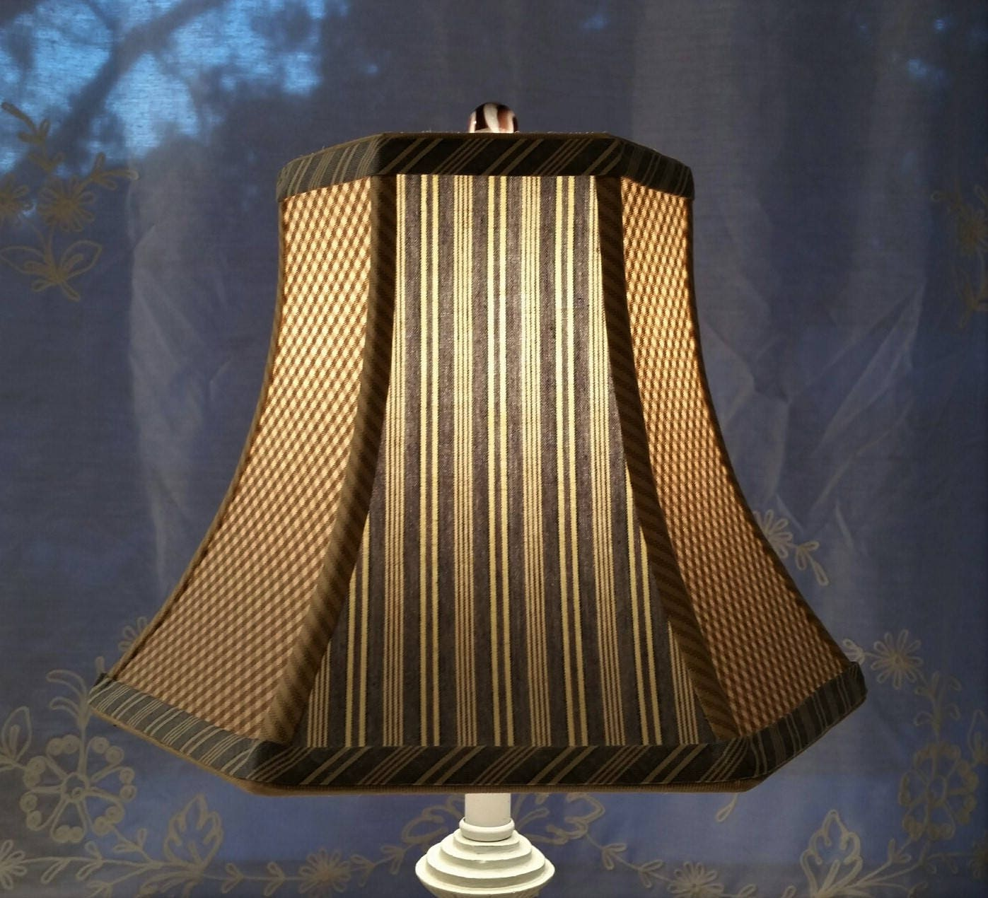 Blue Stripe Lampshade Beige Gingham Hexagon Bell Lamp Shade