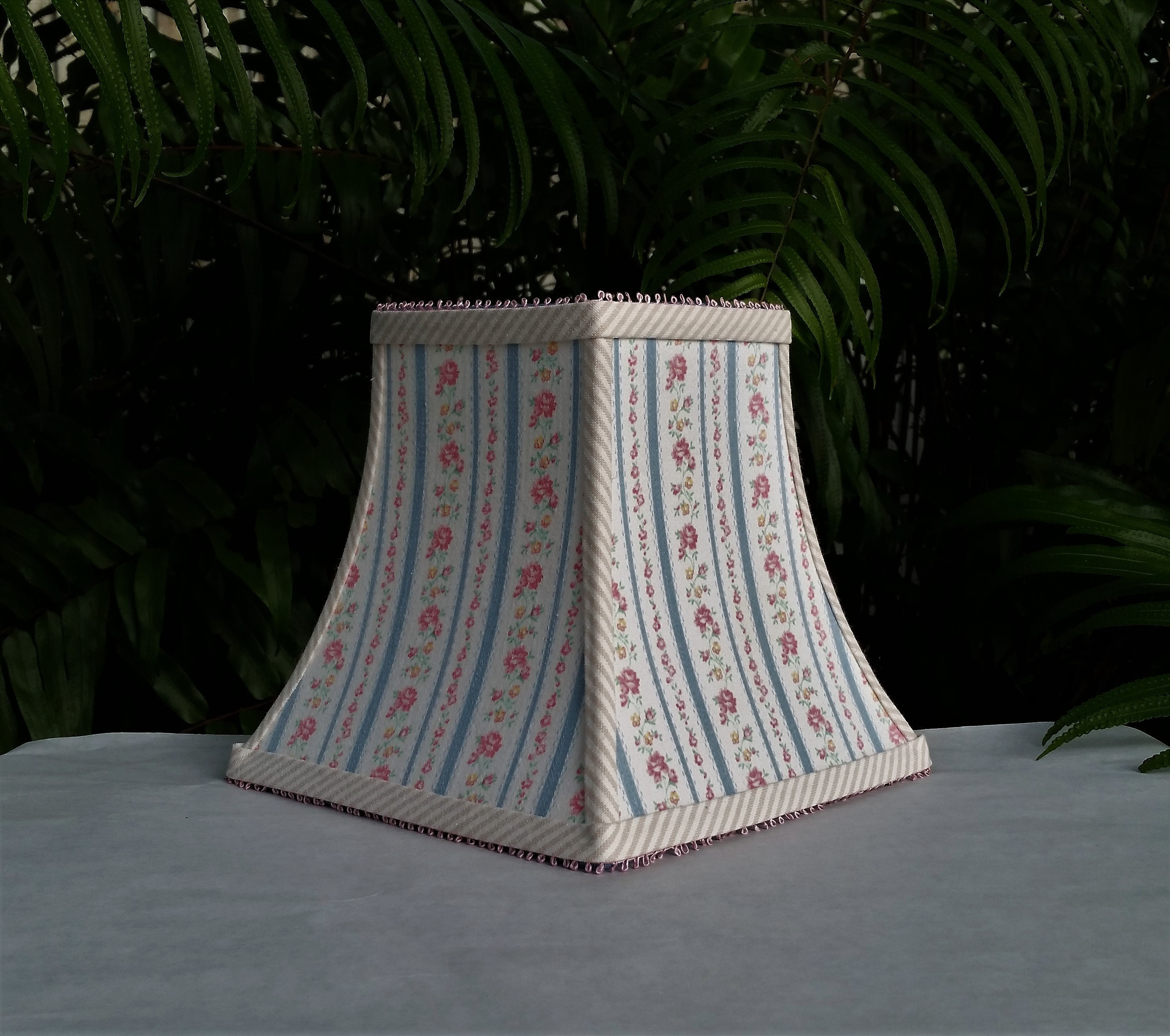 Clip on lamp shade blue ticking pink flowers square bell lampshade mightylinksfo