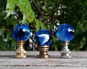 Blue Lamp Finial, White Swirls, Glass