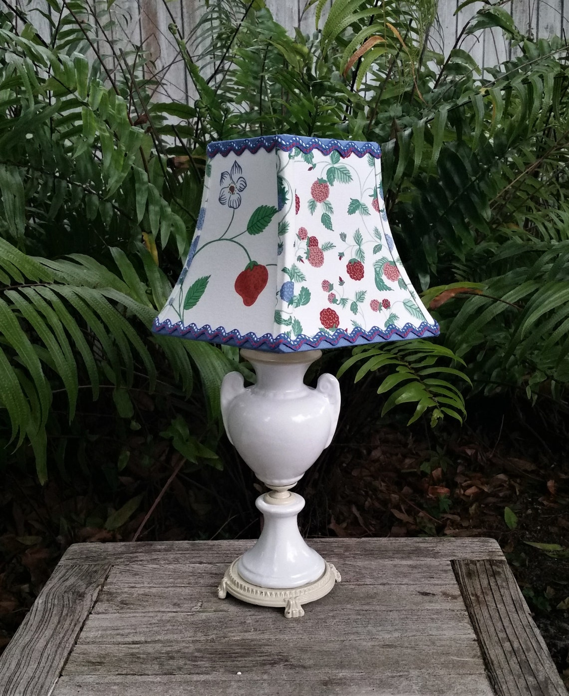 Farmhouse Clip On Lampshade Blue Square Bell Lamp Shade Eclairage