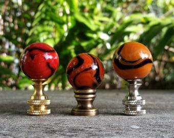 Orange Lamp Finial, Light or Dark, Black Swirls