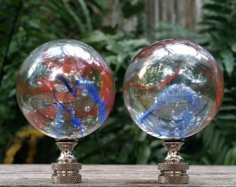 Large Iridescent Lamp Finial, Clear Red Blue