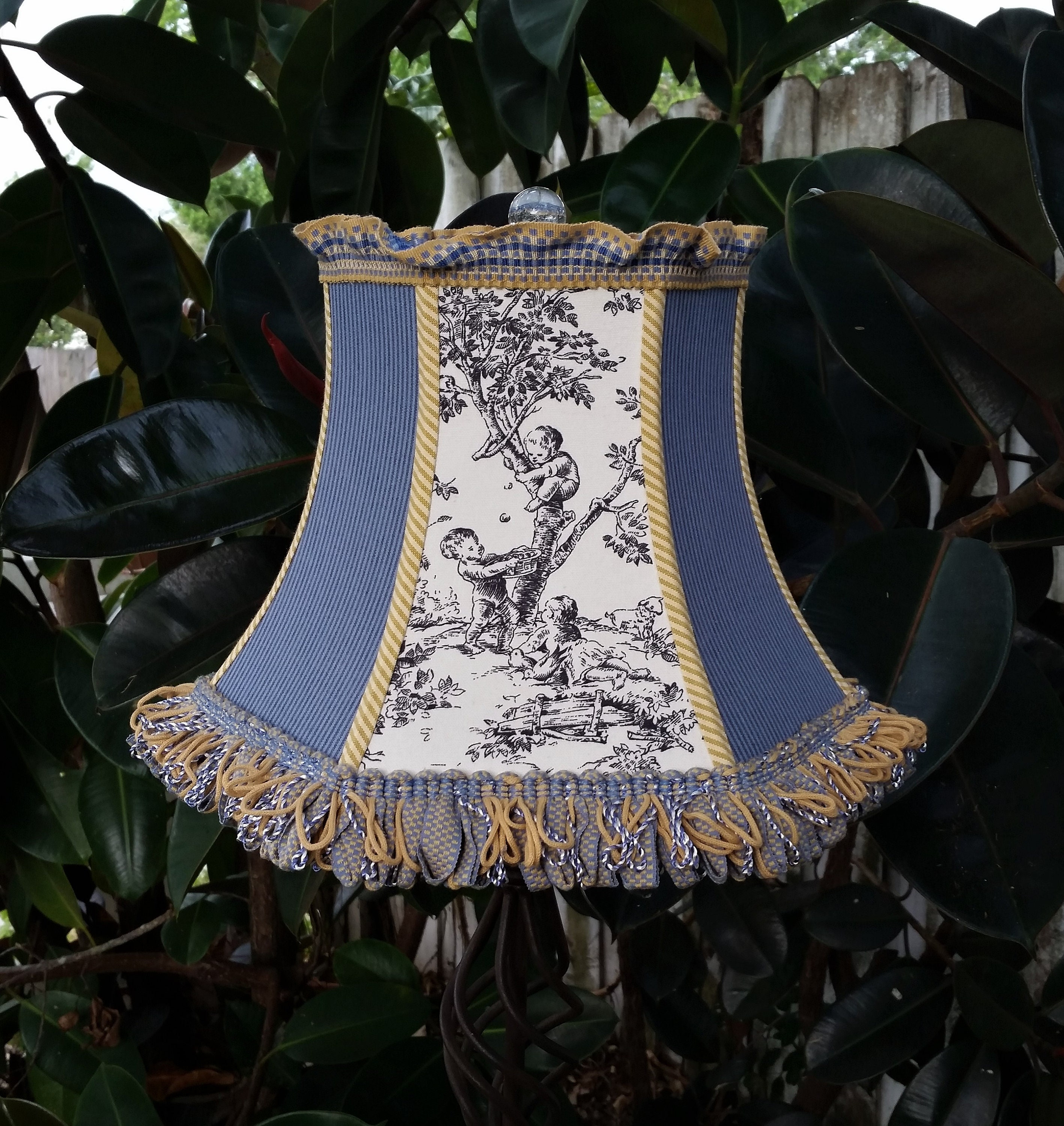 French Country Blue Lamps: French Country Toile Lampshade, Blue Ticking Lamp Shade