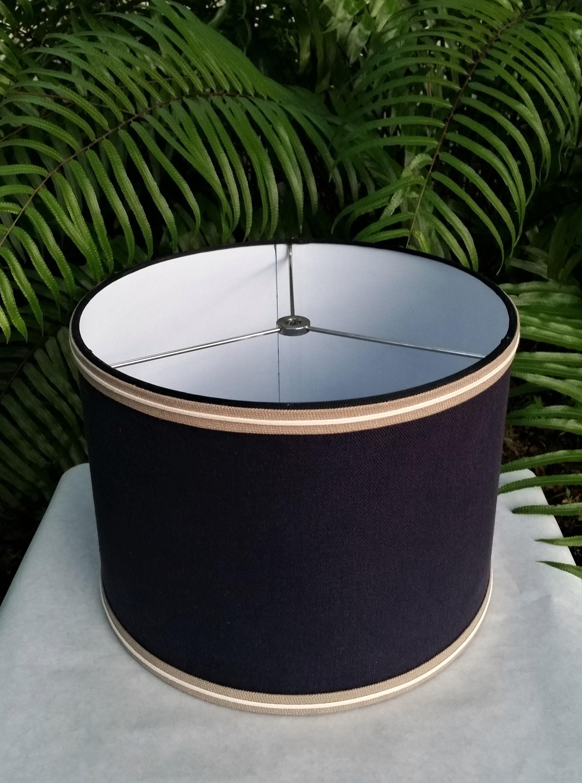 Navy Blue Lamp Shade Linen Drum Lampshade