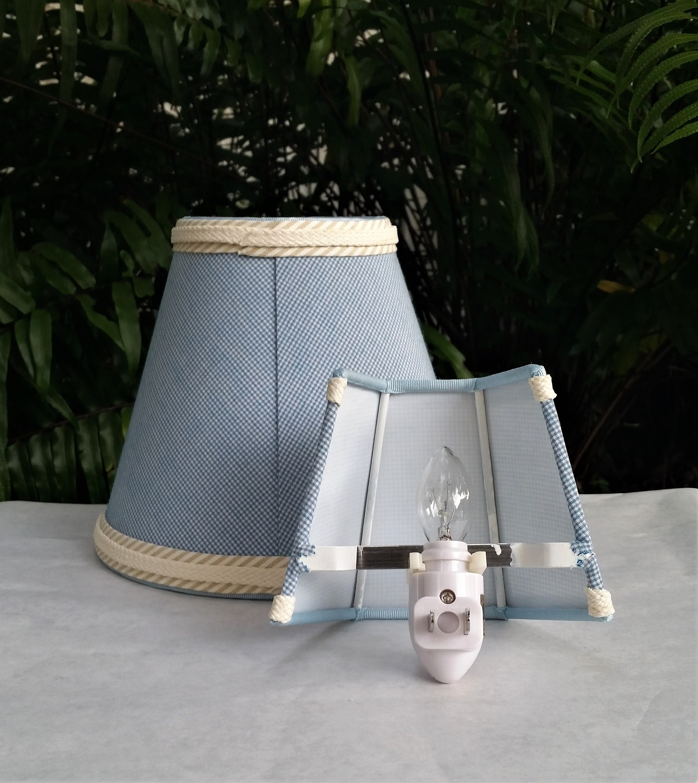 Blue Gingham Lampshade, Night Light Lamp Shade