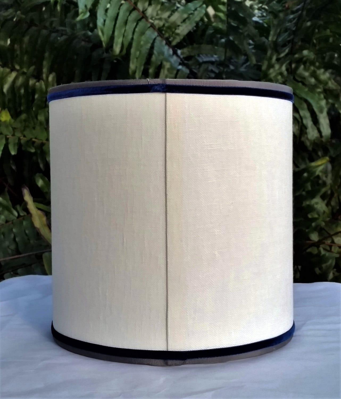 Lampshade Off White Linen Drum Gray Blue Velvet Trim