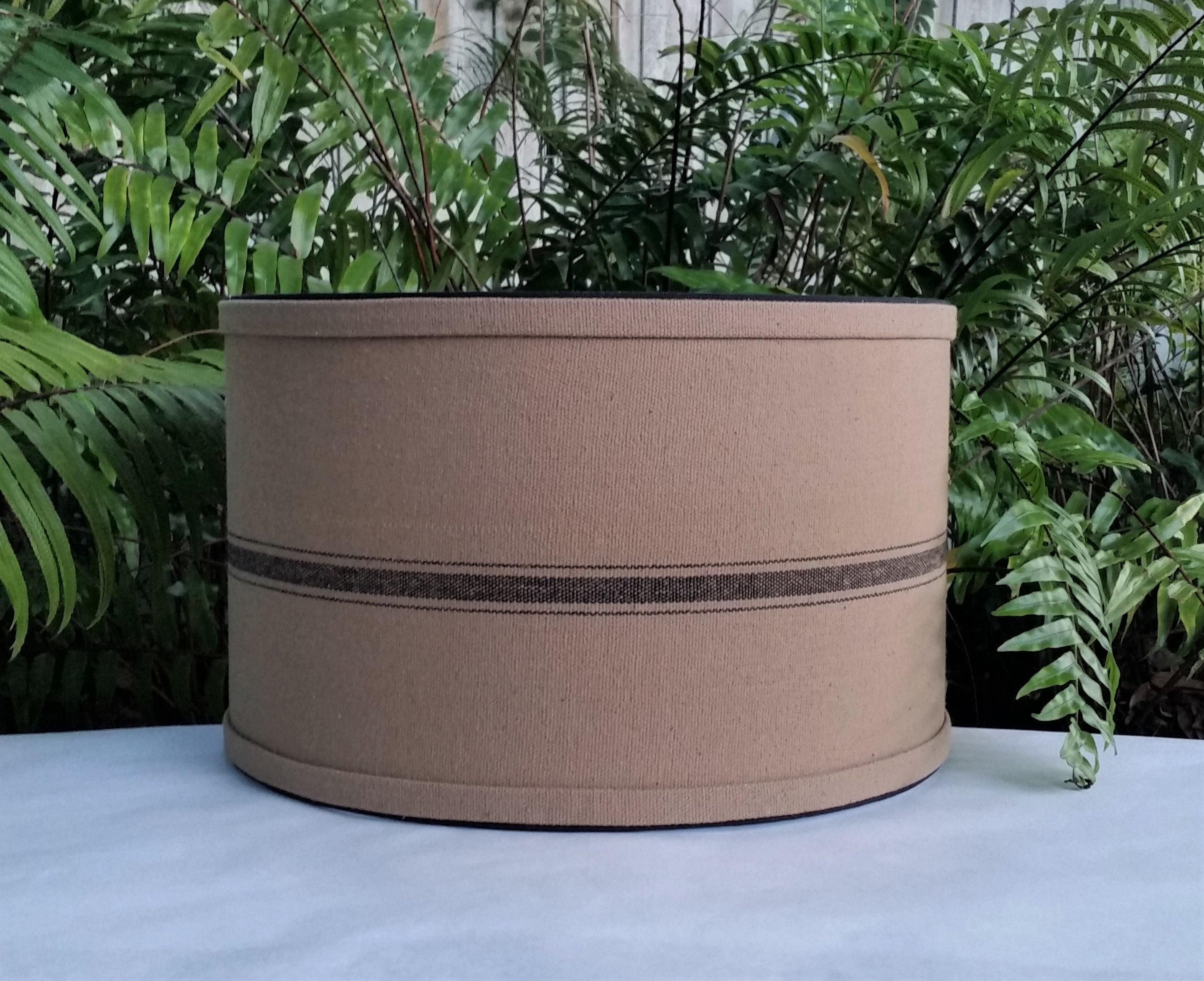 Picture of: Brown Black Grain Sack Lampshade Drum Lamp Shade