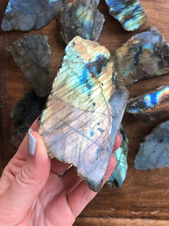 Amber multi - colored Labradorite raw & polished slab