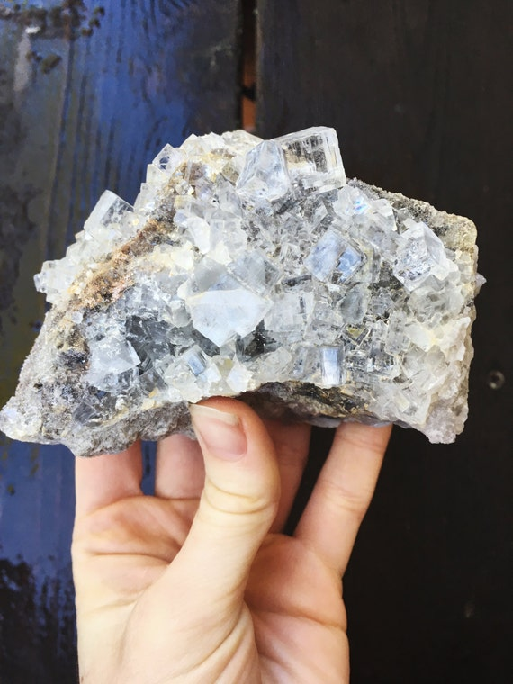 Spanish Fluorite : rare and phenomenal clear crystal cluster on druzy Dolomite matrix