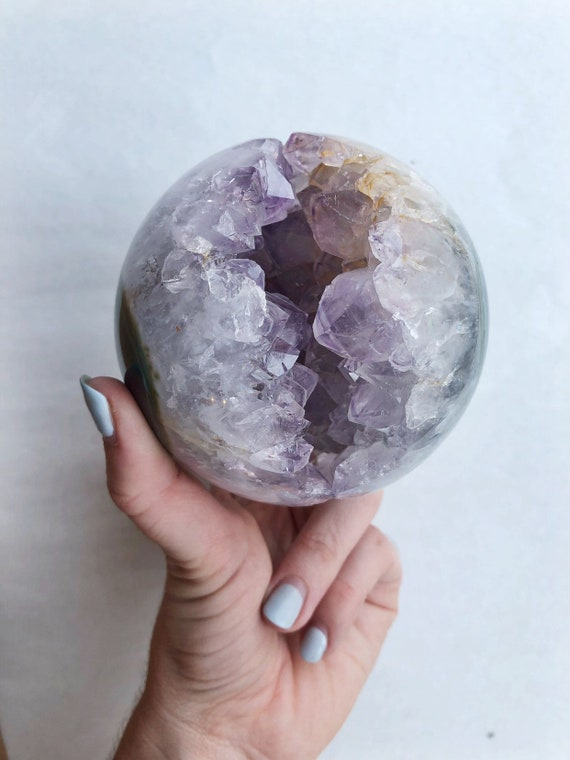 Amethyst geode Agate / Chalcedony sphere