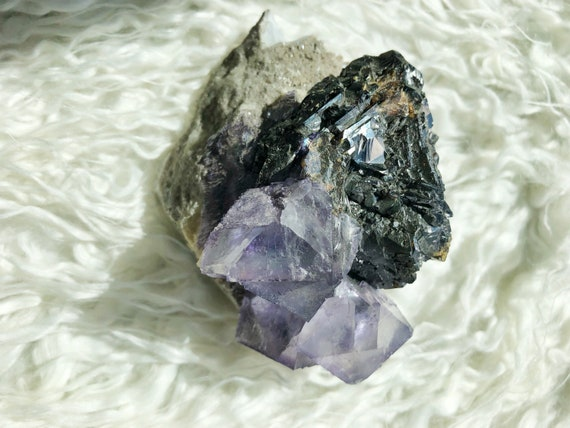 Purple Fluorite on Dolomite with Barite & Sphalerite : Elmwood mine Carthage, Tennessee