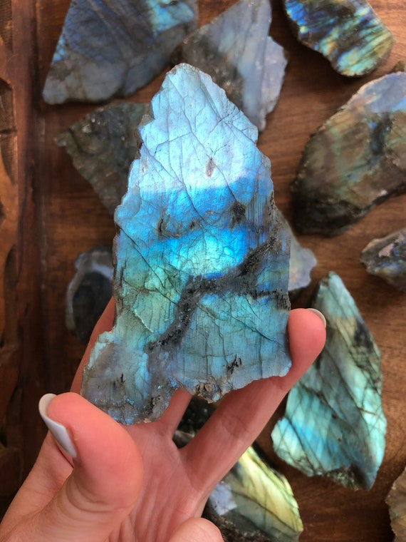 Teal blue Labradorite raw & polished slab