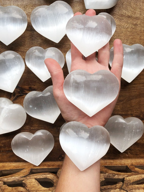 Selenite big polished stone heart