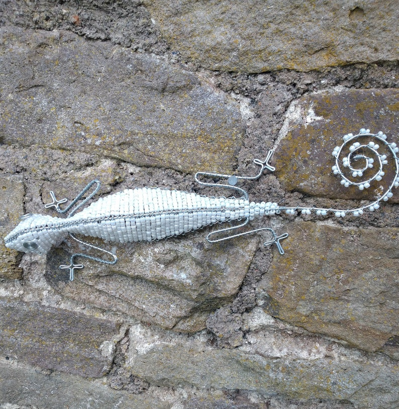 Straight Lizards made with glass beads.