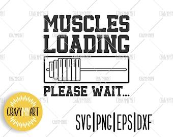 Muscles Loading Please Wait T-SHIRT Gym Bodybuilder Bar Weights Gift Birthday