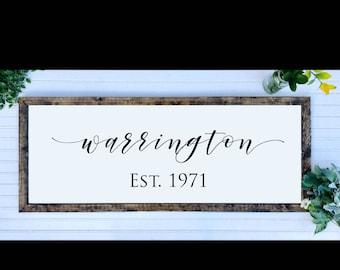 Framed Family Established Sign, Last Name Sign, Wedding Gift, Family Name Sign, Housewarming Gift, Anniversary Gift, Mothers Day