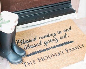 Custom Door Mat, Personalized Doormat, Door Mat, Doormat, Door Mat Personalized, Scripture, Blessed Coming In and Going out, Christian Gifts