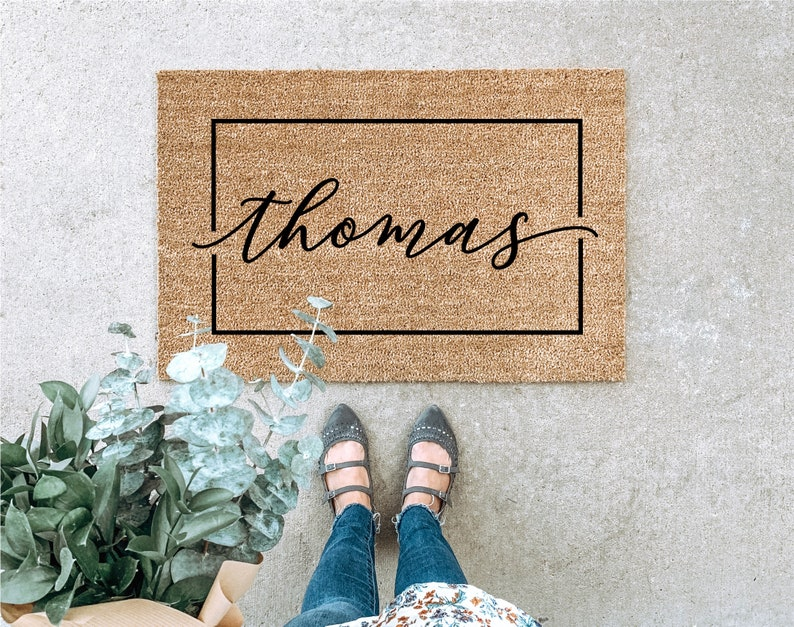 LARGE Custom Doormat Last Name Doormat Housewarming Gift 3 - Rectangle Design