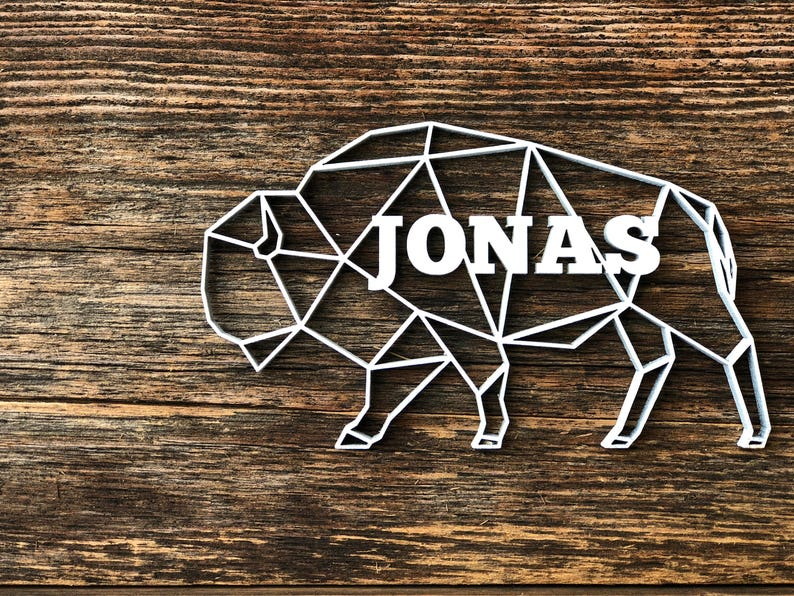 Personalized Buffalo Christmas Ornament Laser Cut Customized Ornament Christmas Ornament Geometric Shaped Unique Animal Child S Name