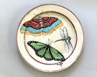 Red Moth, & Green Butterfly Salad Plate