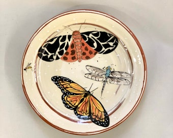 Butterflies and dragon fly Luncheon Sized Plate