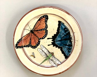 Monarch & Dark Teal Swallow Tail Butterfly Plate