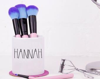 Personalised Makeup Brush Holder - Makeup Organiser / Dressing Table Tidy Pot / Ceramic Pot / Pencil Pot - Customised Gift